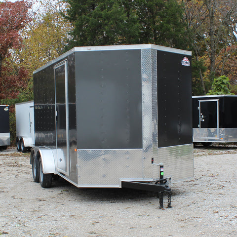 "7X14 Tandem Axle V-Nose Enclosed Cargo Trailer 84"" Interior Rear Ramp Radial Tires and LED Lights"