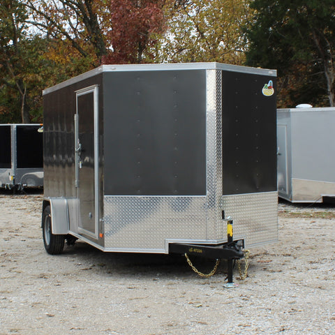 7X12 Single Axle V-Nose Enclosed Cargo Trailer Rear Ramp Radial Tires and LED Lights
