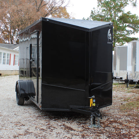 "SPARTAN 6X12 Single Axle Slant V-Nose Blackout Enclosed Cargo Trailer 78"" Interior Rear Ramp Radials and LEDs - Haul Supply"