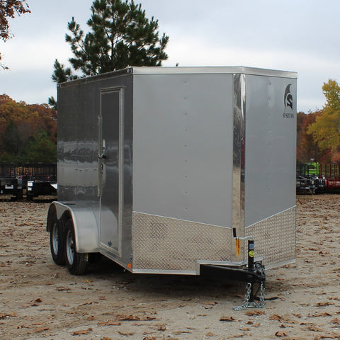 SPARTAN 6X12 Tandem Axle V-Nose Enclosed Cargo Trailer Rear Ramp Radial Tires and LED Lights - Haul Supply