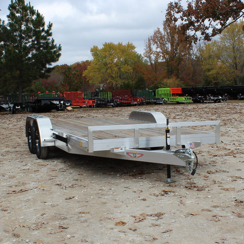 82X18 Tandem Axle Aluminum Car Hauler Slide-Out Ramps Dovetail Radial Tires and LED Lights