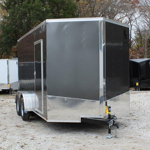 "7X14 Tandem Axle V-Nose Enclosed Cargo Trailer 84"" Interior Rear Ramp Radials and LED Lights"