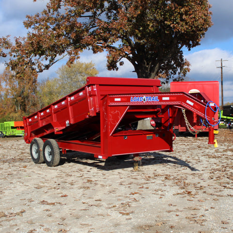 83X14 Tandem Axle Gooseneck Dump Trailer 3-Way Rear Gate Slide-In Ramps Radials and LEDs