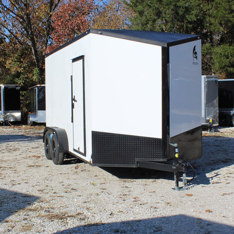 "7X14 Tandem Axle Slanted V-Nose Enclosed Cargo Trailer 84"" Interior Rear Ramp Radials and LEDs"