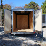 6X12 Single Axle Flat Front Enclosed Cargo Trailer Double Rear Doors Radials and LEDs