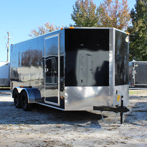 "7X16 Tandem Axle V-Nose Enclosed Cargo Trailer 78"" Interior Rear Ramp and Radial Tires"