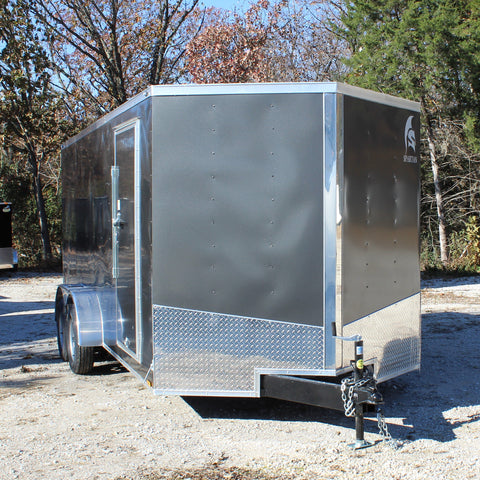 7X16 Tandem Axle V-Nose Enclosed Cargo Trailer Rear Ramp Radial Tires and LED Lights