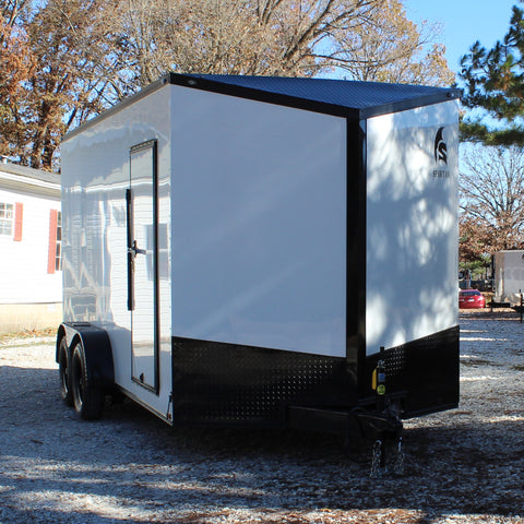 "7X16 Tandem Axle Slant V-Nose Enclosed Cargo Trailer 84"" Interior Rear Ramp Radials and LEDs"