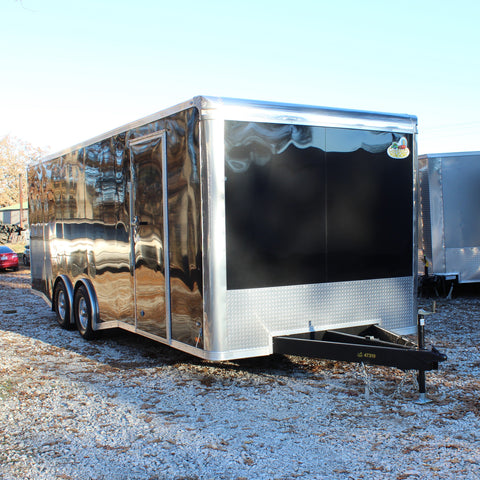 "8.5X24 Tandem Split Axle Flat Front Enclosed Cargo Trailer 84"" Interior Rear Ramp and Vinyl Ceiling"
