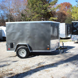 COVERED WAGON TRAILERS 5X8 Single Axle V-Nose Enclosed Cargo Trailer Double Doors Radial Tires and LED Lights - Haul Supply