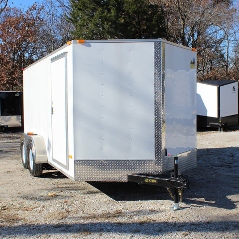 7X14 Tandem Axle V-Nose Enclosed Cargo Trailer Rear Ramp and Radial Tires