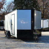 "7X16 Tandem Axle V-Nose Enclosed Cargo Trailer 78"" Interior Rear Ramp Radials and LEDs"