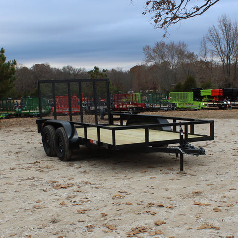 D&D 76X14 Tandem Axle Utility Trailer 4' Rear Gate Radial Tires and LED Lights - Haul Supply