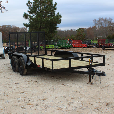 D&D 76X14 Tandem Axle Utility Trailer 4' Drop Gate Radial Tires and LED Lights - Haul Supply