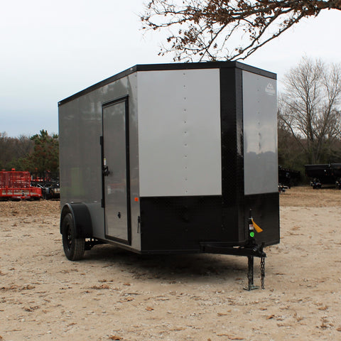 "ROCK SOLID 6X12 Single Axle V-Nose Enclosed Cargo Trailer 78"" Interior Rear Ramp Radials and LEDs - Haul Supply"