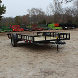 D&D 76X14 Single Axle ATV Utility Trailer Side Rail Ramps Radial Tires and LED Lights - Haul Supply