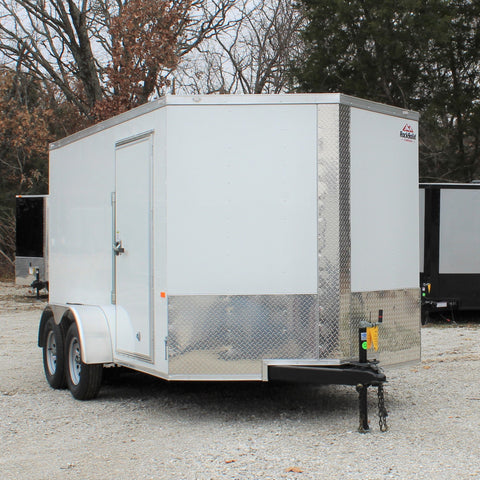 "7X12 Tandem Axle V-Nose Enclosed Cargo Trailer 75"" Interior Rear Ramp Radials and LEDs"