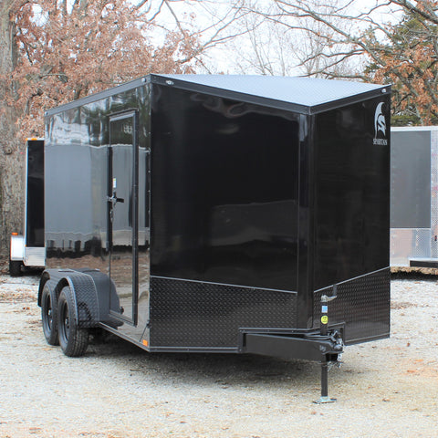 "7X14 Tandem Axle UTV Trailer Blackout Package 78"" Interior Height Rear Ramp w/Beavertail"
