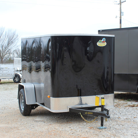COVERED WAGON TRAILERS 5X8 Single Axle Flat Front Cargo Trailer Single Rear Door and Radial Tires - Haul Supply