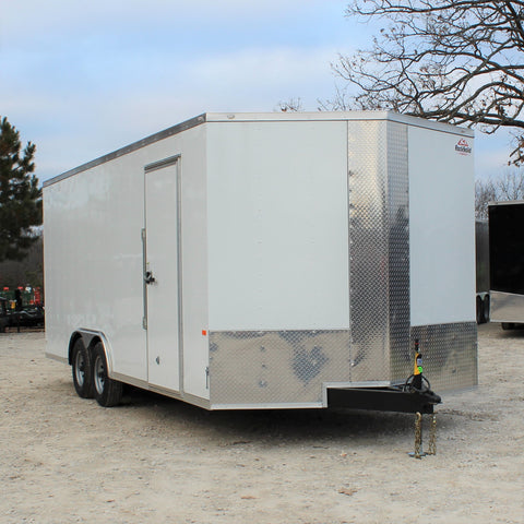 "8.5X20 Tandem Axle V-Nose Enclosed Cargo Trailer 84"" Interior Rear Ramp 5200# Axles and LEDs"