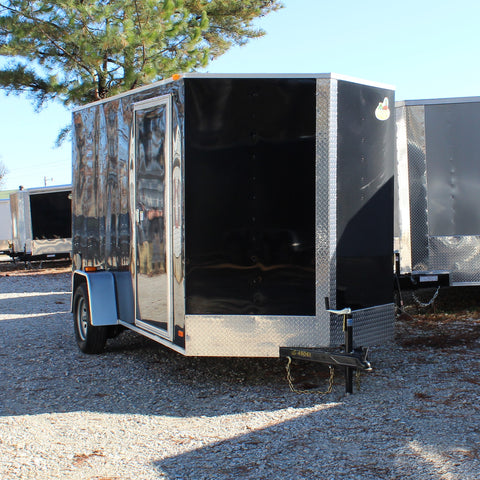 "COVERED WAGON TRAILERS 6X12 Single Axle V-nose Cargo Trailer with Rear Ramp and 78"" Interior Height - Haul Supply"