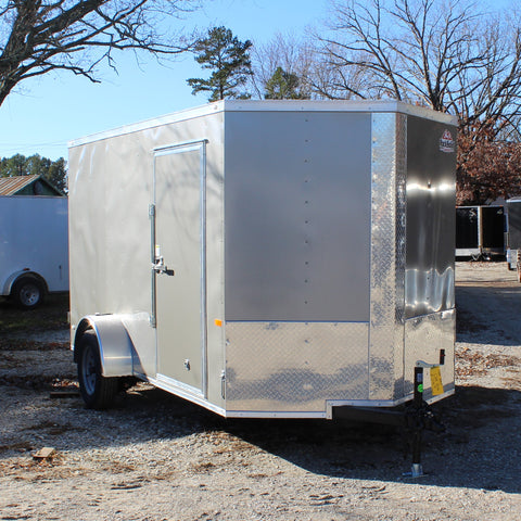 "6X12 Single Axle V-Nose Enclosed Cargo Trailer 75"" Interior Double Rear Doors Radials and LEDs"
