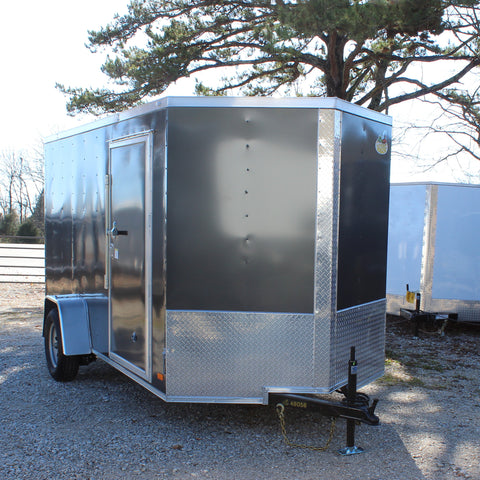 "COVERED WAGON TRAILERS 6X12 Single Axle Cargo Trailer with Rear Ramp and Side Door 75"" Interior Height - Haul Supply"