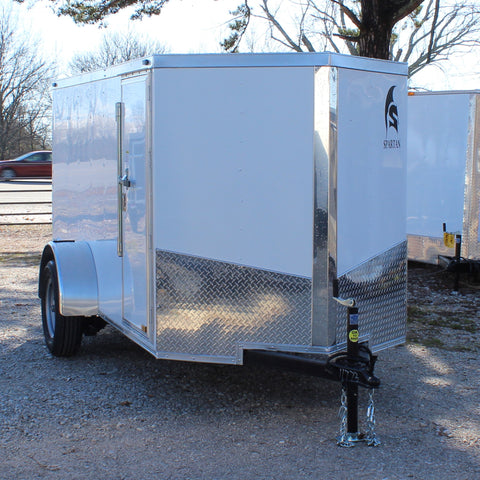 5X10 Single Axle V-Nose Enclosed Cargo Trailer Rear Ramp Side Door Radials and LEDs