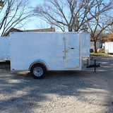 SPARTAN 5X10 Single Axle V-Nose Enclosed Cargo Trailer Rear Ramp Side Door Radials and LEDs - Haul Supply