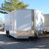 "8.5X18 Tandem Axle V-Nose Cargo Trailer 84"" Interior Rear Ramp Radial Tires and LED Lights"