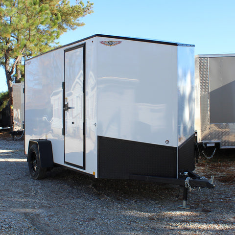 "HH TRAILERS 6X12 Single Axle Slanted V-Nose Blackout Package 78"" Interior Rivetless Exterior - Haul Supply"