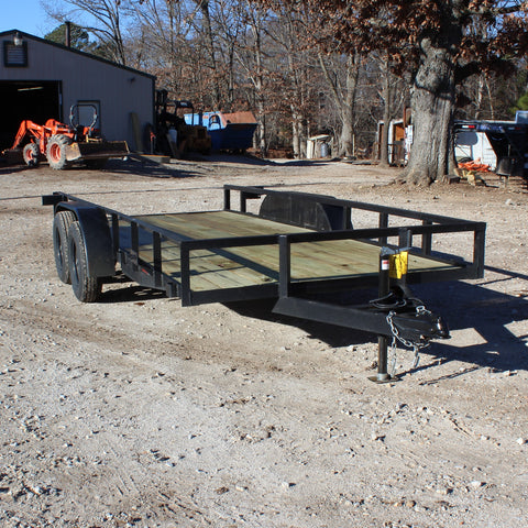 76X16 Tandem Axle Utility Trailer Rear Slide-in Ramps Radial Tires and LED Lights