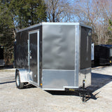 COVERED WAGON TRAILERS 6X10 Single Axle V-Nose Cargo Trailer with Rear Ramp and Side Door with Barlock - Haul Supply