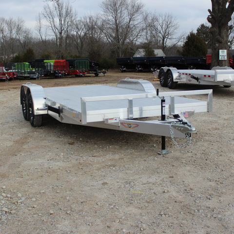 82X18 Tandem Axle Aluminum Flatbed Carhauler Removable Fenders Slide Out Ramps in Carrier