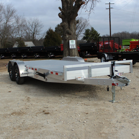 82X20 Tandem Axle 10K Aluminum Flatbed Carhauler with Removable Fenders and Slide Out Ramps