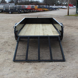 H&H TRAILERS 60X8 Single Axle Solid Sides Utility Trailer with Rear Ramp Gate - Haul Supply