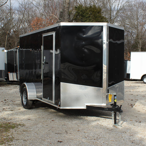 SPARTAN 6X12 Single Axle V-Nose Cargo Trailer Rear Ramp w/Transition Flap Radials and LED Lights - Haul Supply