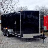 7x16 Tandem Axle V-Nose Cargo Trailer with Rear Ramp