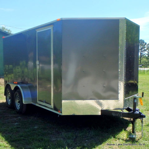 "7x14 PRODUCTION SERIES- Tandem Axle V-Nose Cargo Trailer with 78"" Interior Height and Rear Ramp"