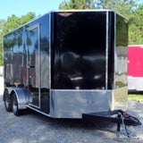 7X14 Tandem Axle V-Nose Cargo Trailer with Extra Height Rear Ramp Radial Tires & LED Lights