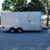 "7X16 Tandem Axle V-Nose Cargo Trailer with .030 Extra Thick Rivetless Exterior 78"" Interior Height and LED Lights"