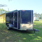 "6X12 Single Axle Cargo Trailer With Extra Height Rear Ramp 15"" Radial Tires & LED Lights"