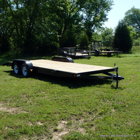 "82X20 Tandem Axle Flat Bed Trailer with Ramps 15"" Tires & Spare Tire Mount"