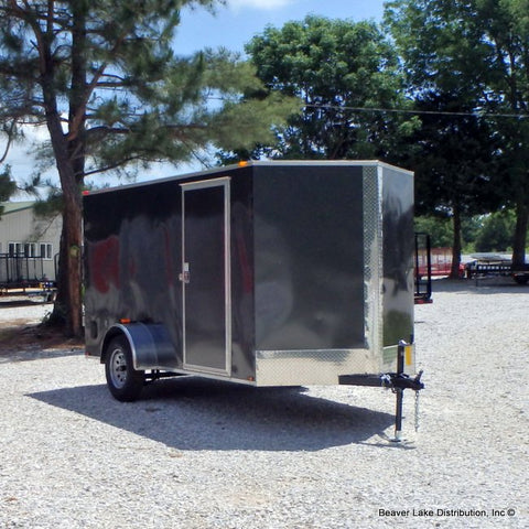 6X12 Single Axle V-Nose Cargo Trailer w/Double Doors