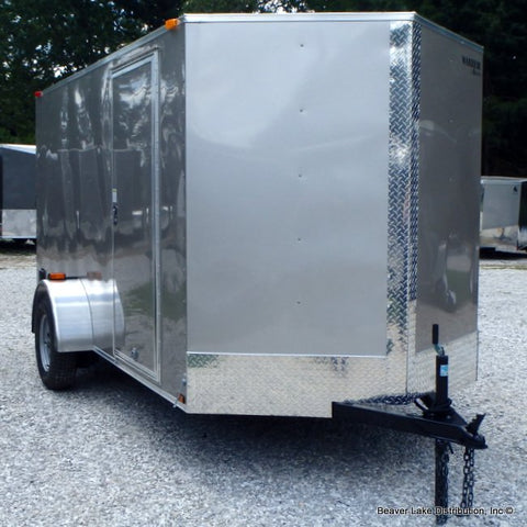6X12 Single Axle V-Nose Cargo Trailer with Rear Ramp