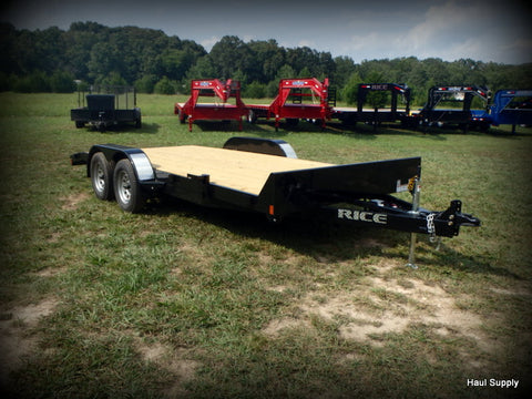"82x18 Tandem Axle 7K Car Hauler with 5' Slide Out Rear Ramps 15"" Radial Tires and LED Lights"