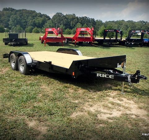 "82x20 Tandem Axle 7K Car Hauler with 5' Slide Out Rear Ramps 15"" Radial Tires and LED Lights"