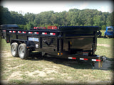 "83X16 Tandem Axle Dump Trailer with 24"" Dump Sides and 24"" 3 Way Gate Solar Panel 80X16 Rear Slide in Ramps and LED Lights"