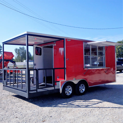 "8.5X20 Tandem Axle Flat Front BBQ Trailer with 6' Porch 72""x48"" Concession Window w/Awning Door Screen Aluminum Serving Counter and More"