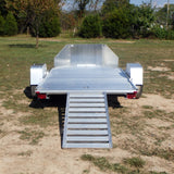 69X10 Single Torsion Axle Aluminum Folding Motorcycle Trailer W/Rock Guard, Radial Tires & LED Lights